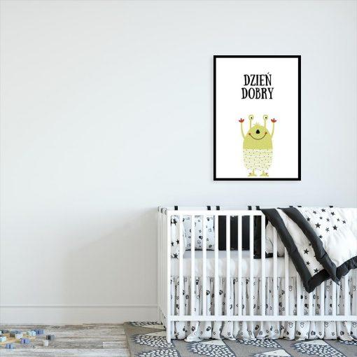 plakat z napisem i potworkiem do pokoju dziecięcego
