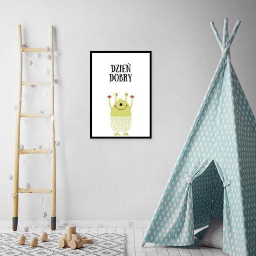 plakat z zabawnym stworkiem na ścianę pokoju dziecka