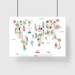 plakat z mapą świata