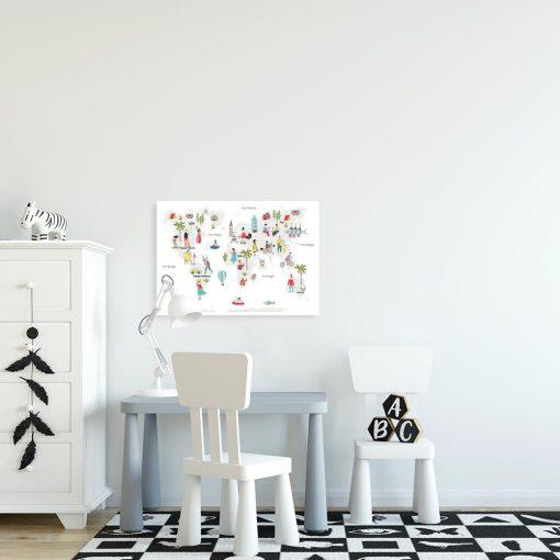 plakat z mapą świata do pokoju dziecka