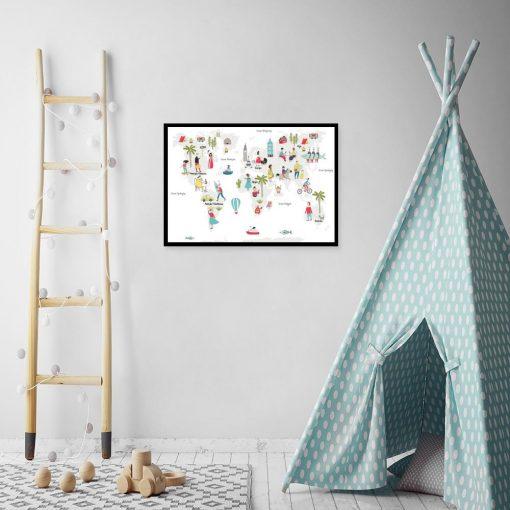 plakat z mapą i postaciami do pokoju dziecka