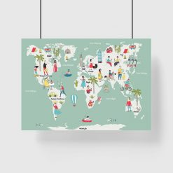 plakat z motywem mapy świata