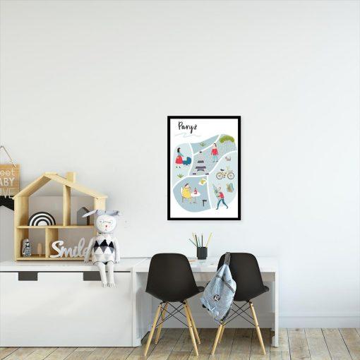 plakat z napisem paryż do pokoju dziecka