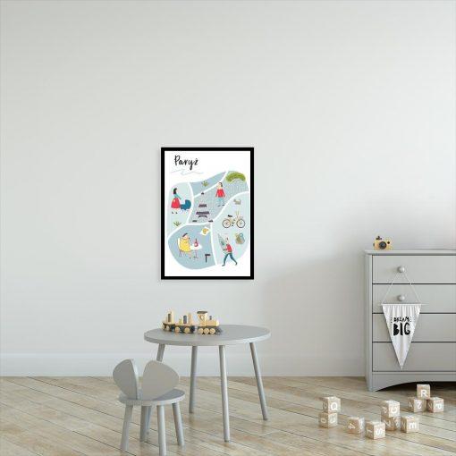 plakat z motywem francji do pokoju dziecka