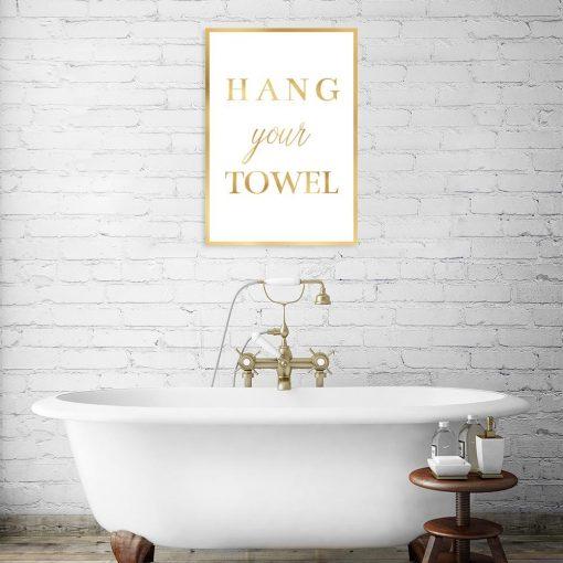 plakat metaliczny z napisem o ręczniku
