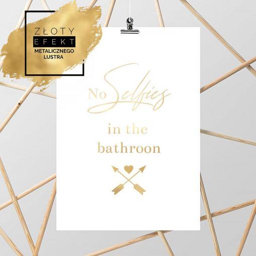 plakat złoty z napisem do łazienki