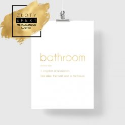 pozłacany plakat napis łazienka