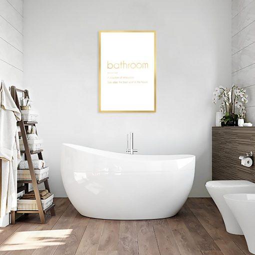 plakat metaliczny z napisem o łazience