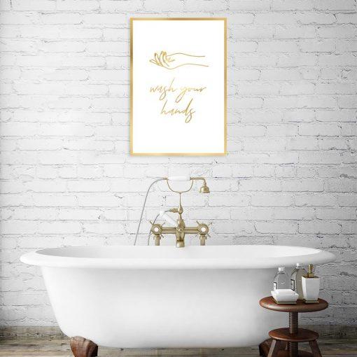 pozłacany plakat wash your hands