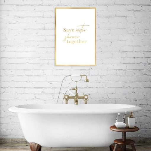 plakat metaliczny save water shower together