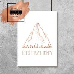 miedziany plakat z motywem podróżniczym