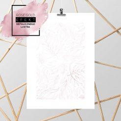 różowo-złoty plakat z listkami