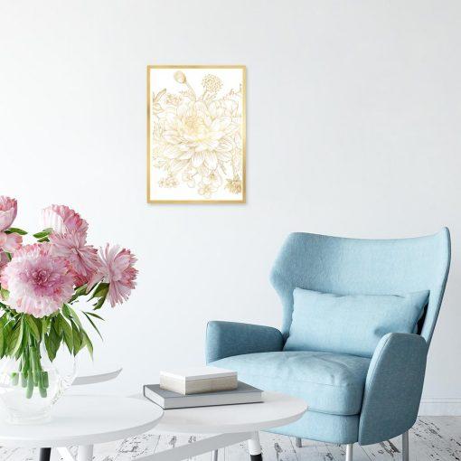 metaliczny plakat z motywem kwiatów
