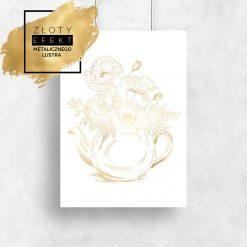 złoty plakat z bukietem maków