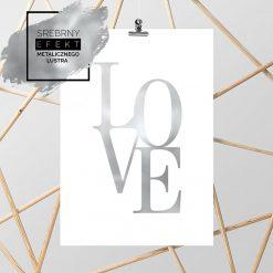 srebrny plakat love