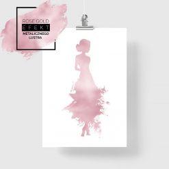 plakat rose gold z kobietą w sukni
