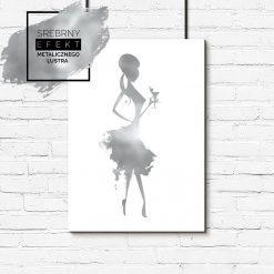 metaliczny plakat kobieta w sukience