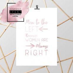różowo złoty plakat z napisem do łazienki