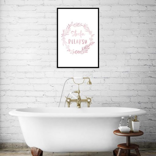 plakat różowo-złoty z napisem