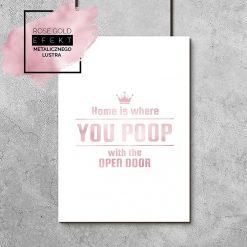 plakat różowe złoto napis o domu