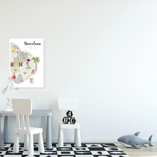 plakat z napisem barcelona i kolorowymi elementami do pokoju dziecka