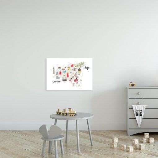 plakat z kolorowymi elementami na ścianę pokoju dziecka