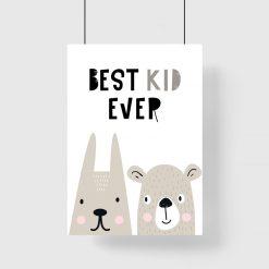 plakat z napisem Best kid ever i zwierzętami dla dziecka
