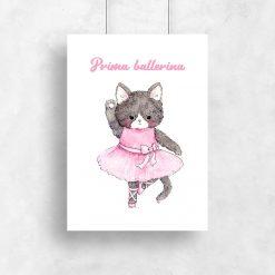 plakat z napisem i kotkiem w sukience do pokoju dziecka
