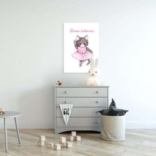 plakat z napisem i kotkiem do pokoju dziecka