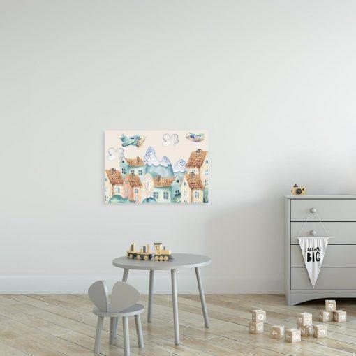 obraz z motywem kolorowych samolotów nad miastem dla dziecka