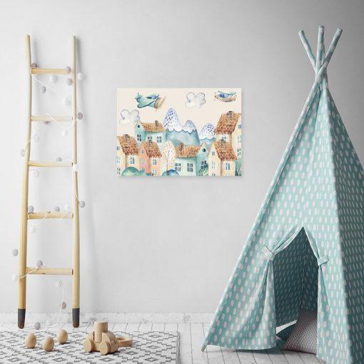 obraz bajkowy z domkami i samolotami dla dziecka