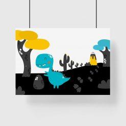 plakat z niebieskim dinozaurem na tle wulkanu do pokoju dziecka
