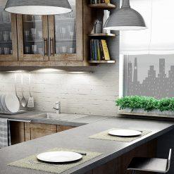 naklejka na okno w kuchni z panoramą miasta