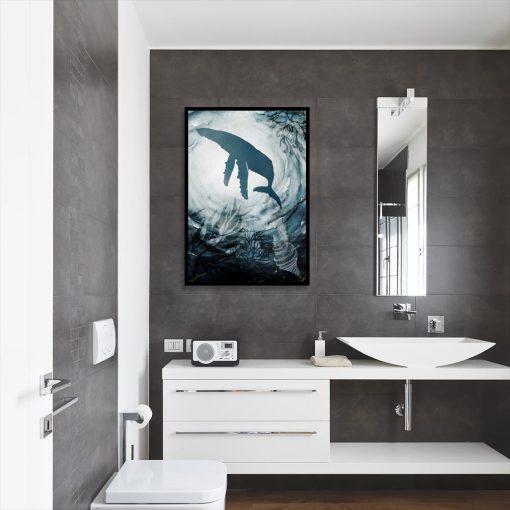 plakat z konturem wieloryba