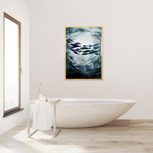 plakat z motywem ryb
