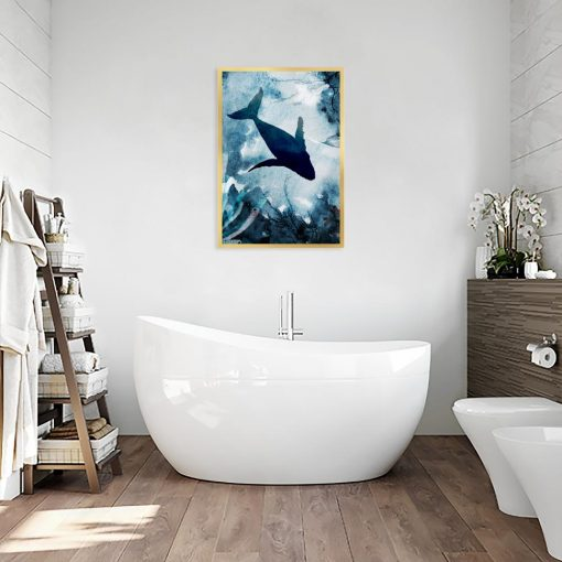 niebieski plakat do łazienki