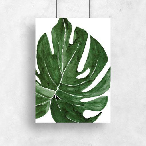 zielony plakat z liściem