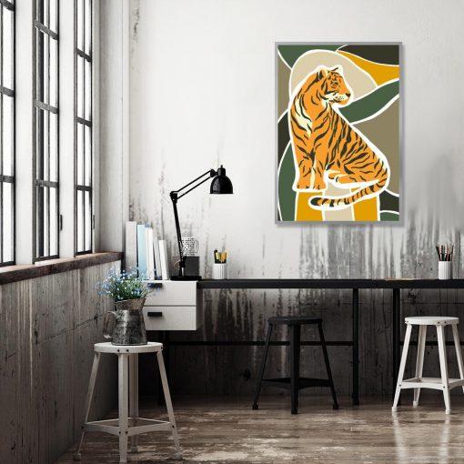 plakat z tygrysem i abstrakcją