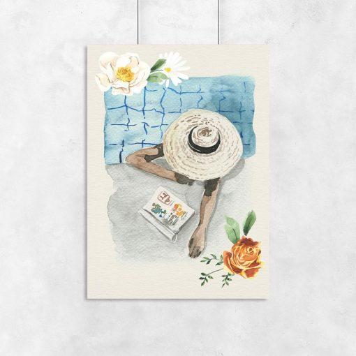 beżowy plakat kobieta w basenie