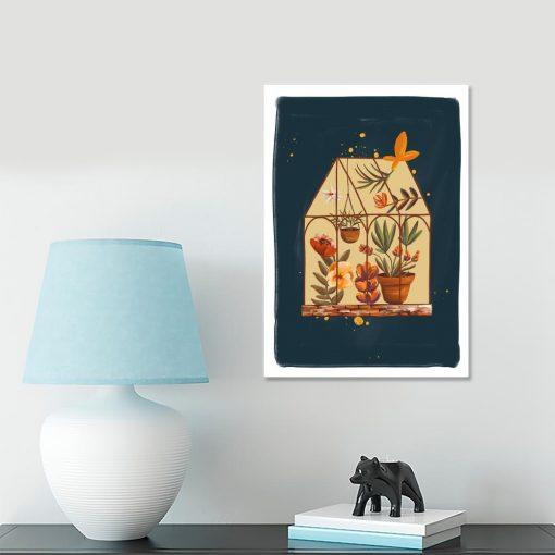 granatowy plakat z motywem klatki kwiatów