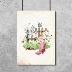 plakat vintage kwiaty