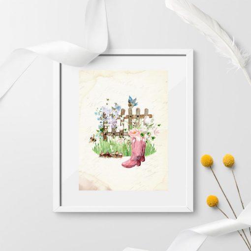 plakat vintage z kwiatami