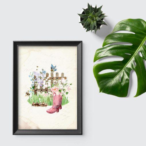 beżowy plakat z motywem kwiatów
