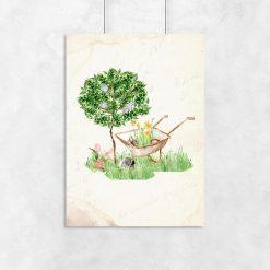 beżowy plakat drzewo i taczka