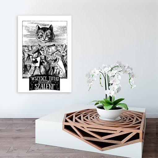 czarno-biały plakat alicja w krainie czarów