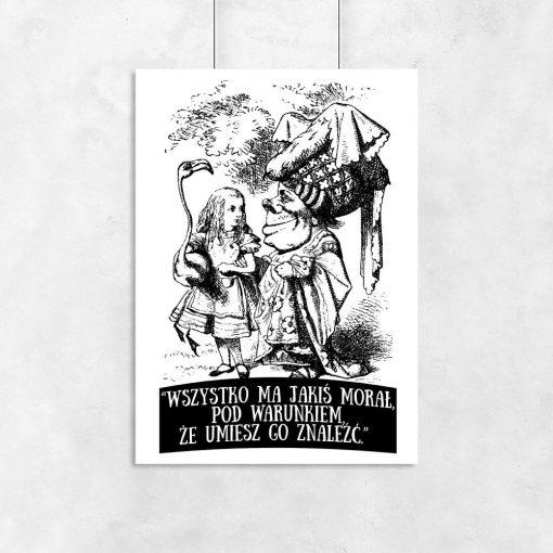 plakat czarno-biały alicja w krainie czarów