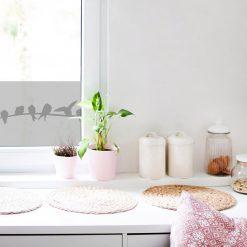 naklejka na okno z motywem ptaków do kuchni