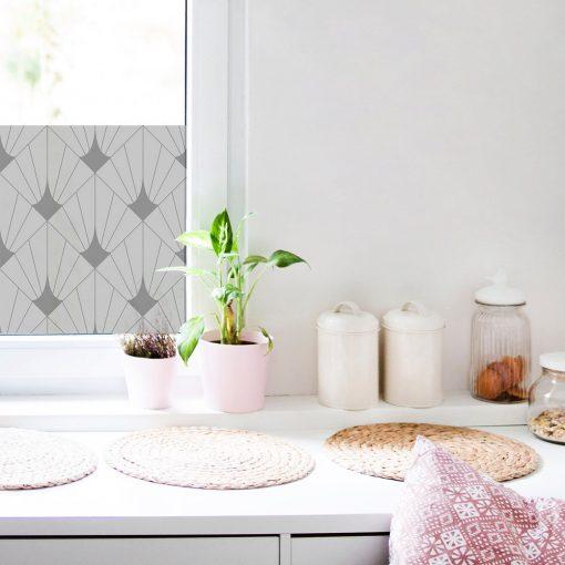 okleina mrożone szkło z geometrycznym wzorem do kuchni