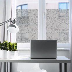 folia okienna z liśćmi do gabinetu