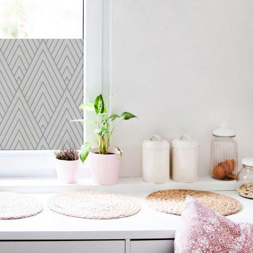naklejka na szybę z geometrycznym motywem do kuchni
